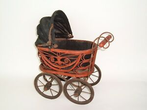 Vtg Wicker Rattan Baby Doll Pram Carriage Buggy Antique Reproduction 16