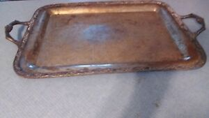 Wm A Rogers Silver Plated Victorian Rose Serving Tray Platter 1991 25 1 2 Long