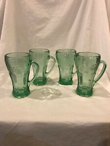 McDonald Glasses Coca-Cola Mugs with Handles Heavy Green Tinted Glass