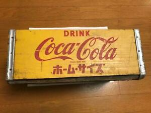 Coca-Cola Wooden Box Antique Case Set Delivery Yellow Vintage From Japan