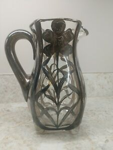 Antique Art Nouveau Large Sterling Silver Overlay Glass Pitcher 9 H Rare