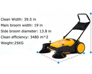 Intbuying Triple Brush Push Power Sweeper Pavement Sweeper 39 5 Free Shipping