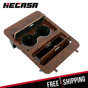 Woodgrain Center Console Cup Holder Storage Full Size For Chevy Trucks