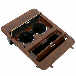 Woodgrain Center Console Cup Holder Storage Full Size For Chevy Trucks Suv s
