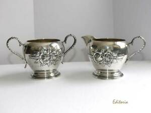 Stieff Rose Sterling Silver Creamer Sugar Bowl Set Repouss Hand Chased Kirk