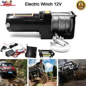 4000lb Electric Winch 12v Atv Utv Towing Truck Synthetic Rope Wireless Control