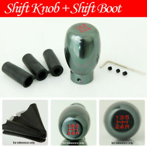 Fit Toyota 5 Speed Manual Gear Stick Gunmetal Shift Knob Black Boot Cover