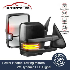Pair Power Heated Dynamic Led Turn Signal Tow Mirrors For Chevy Tahoe Gmc Yukon