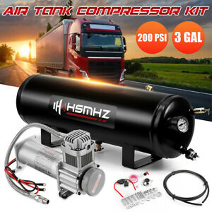 Universal 3gal 200psi Air Compressor Tank Onboard System Kit For Truck Boat Horn