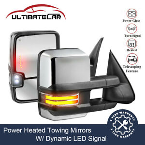 Chrome Power Heated Dynamic Signal Tow Mirrors For Chevy Silverado Gmc Sierra