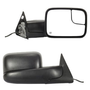 Pair Power Heated Towing Mirrors Glass For 1994 2001 Dodge Ram 1500 2500 3500
