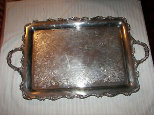 Vintage Serving Tray Wilcox International Silver 7391 American Rose 15 X 25