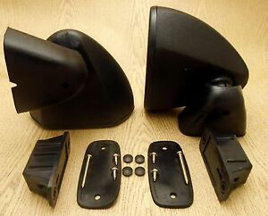 Universal Exterior Retro Bullet Black Door Wing Side Mirrors Vintage Pair Rh Lh
