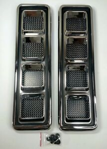 Pair Hood Scoop Inserts For 1968 69 Chevy Camaro Ss chrome Louvers W Screens