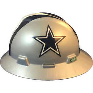 Msa V gard Full Brim Dallas cowboys Nfl Hard Hat Type 3 Ratchet Suspension