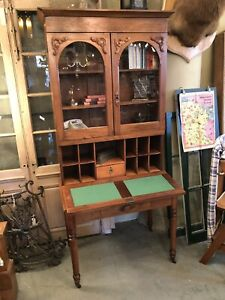 1870s Drop Front Walnut Secretary Desk Bookcase Original Casters Square Nail
