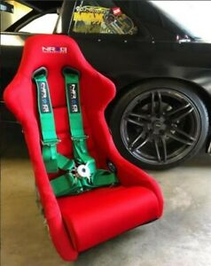 Nrg Frp 300rd Fiber Glass Racing Bucket Seat Large Size Red Finish 1x