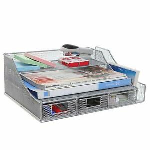 Hgmart Mesh Desk Organizer With File Tray Note Rack 3 Drawers And Display Stand