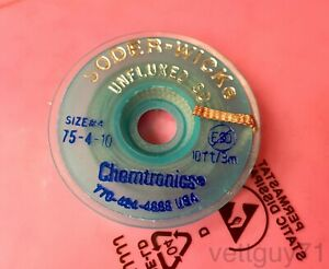Chemtronics Soder wick 4 As Unfluxed Desoldering Braid Wick 2 8mm 0 110 10