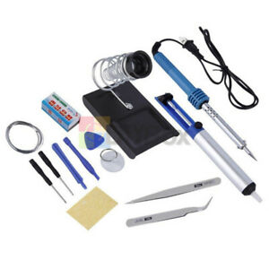14 In 1 Electric Soldering Tools Kits Set Iron Stand Desoldering Pump 60w 110v