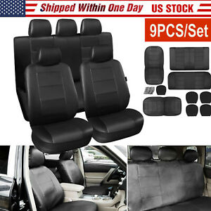 9 Pcs Pu Leather Car Seat Cover Front Back Seat Protector For Car Suv Truck
