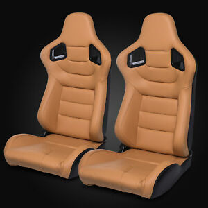 Universal Khaki Carbon Fiber Style Mixed Pvc Leather Racing Bucket Seats Pair