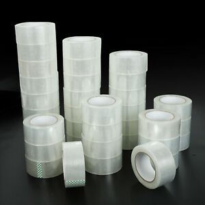 72 Rolls Clear Packing Packaging Carton Sealing Tape 2x110 Yards 2 Mil Box