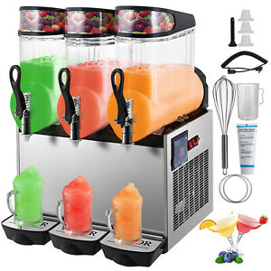 Slush Frozen Drink Machine Commercial 12l 3 Pc Triple Tanks Beverage Mixer