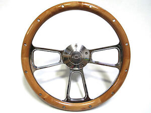 Chevy Corvette 14 Billet Aluminum Real Alder Wood Steering Wheel Ships Free