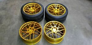 Ferrari 458 Italia 488 Gtb Rohana 20 Gold Wheels Rims Set Front And Rear