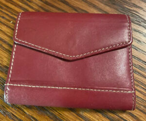 Red Buxton Leather Business Card Holder gently Used 29