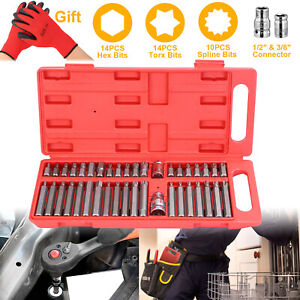 40pcs Alloy Steel Hex Star Torx Socket Bit Set Tool Kit 1 2inch 3 8inch Drive Us