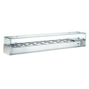 Coldline Vrx1800 Refrigerated Salad Bar glass Topping Rail Holds 8 Pans