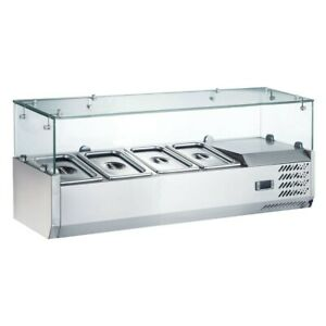 Coldline Vrx1200 Refrigerated Salad Bar glass Topping Rail Holds 4 Pans