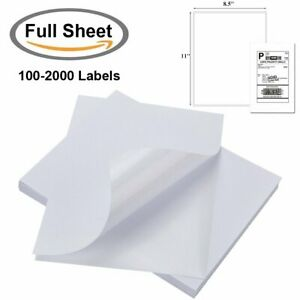 100 2000 Full Sheet Shipping Labels 8 5 x11 Self Adhesive Laser Inkjet Printer