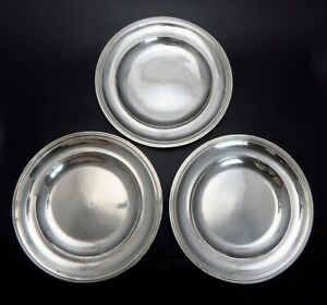 3 Heavy Antique C1800 French 950 Sterling Silver Plates Chargers