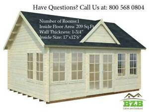 Bzbcabins com Lakeview Log Cabin Kit Pool Or Garden House 209 sqf