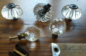 5 Vintage Drawer Knobs Clear Plastic Pulls Aged Brass Color 3 Big 2 Small