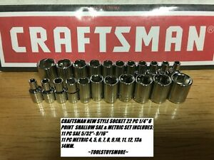 Craftsman 22 Pc 1 4 Shallow Socket Set Sae Metric Ratchet Wrench Tools