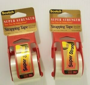 2 Rolls Super Strength Scotch 3m Shipping Strapping Tape Dispenser 2 X 10 yds