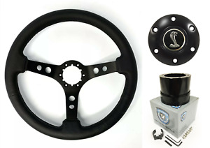 Black Steering Wheel W Shelby Snake Horn Button Adapter 1965 1966 Mustang