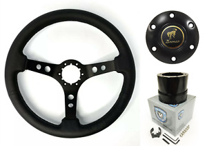 Black Steering Wheel W Horn Button Adapter For 1966 1972 Ford Bronco