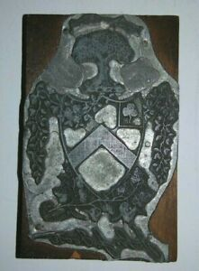 Vintage Printers Block Loyalty And Truth John J Foote Family Crest Coat Of Arms
