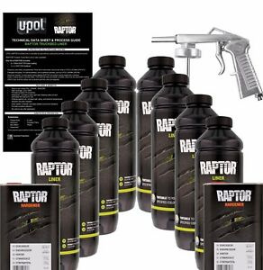 U pol Raptor Tintable Urethane Spray on Truck Bed Liner Kit W spray Gun 8 Liter