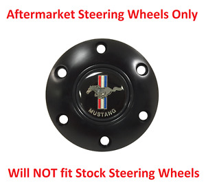 6 Hole Black Steering Wheel 70mm Horn Button Ford Mustang Emblem Tri Bar Pony