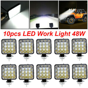 10pcs 48w Led Work Light Bar Spot Beam Car Suv Off road Driving Fog Lamp 12v 24v