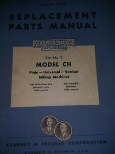Kearney Trecker Milwaukee Model Ch Milling Machines Part Manual No 2 5hp