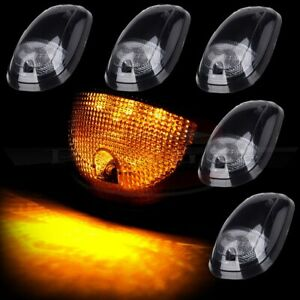 5x Cab Clearance Marker Smoke Lights W Amber 9 Led Assembly For 03 16 Dodge Ram