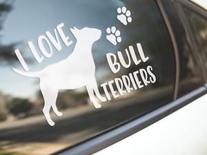 Bull Terrier Sticker Dog Car Decal Dogs I Love Bull Terriers English Silhouette