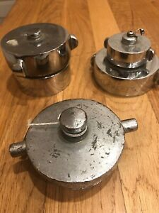 Vintage Lot Of 3 Elkhart Fire Hose Or Hydrant Chrome Plated Brass Plug